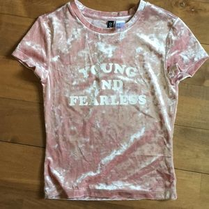 NWT H&M Soft Velvet Crop Top Young & Fearless